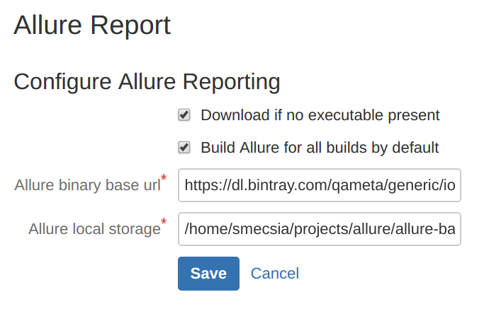 Allure Report Config