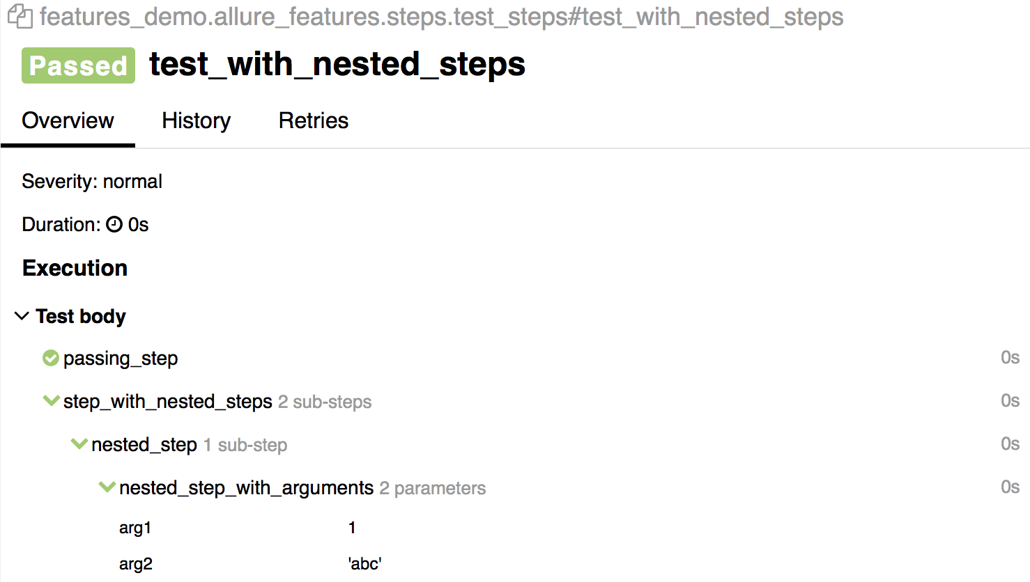 Nested steps and steps with arguments.